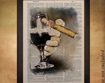 Wine Cigar Dictionary Art Print Bart Art Alcohol Man Cave Gifts for Men Gift Ideas Boyfriend Fathers Day da974