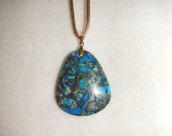 Blue Sea Sediment Jasper & Pyrite oval pendant (JO437)