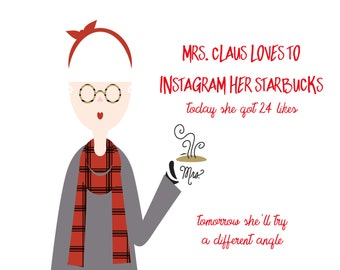 Hipster Mrs. Claus Christmas Card set