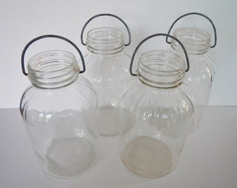 Vintage Clear Glass Pickle Jars - wire bale handle, set of 4 - canning jar, country store, general store, farmhouse, home decor, storage