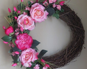 Silk Flower Wreath, Pink Wreath, Spring Wreath, Summer Wreath, Wreath, Front Door Wreath, Rose, Door Wreath, Faux Flower, Rose Wreath