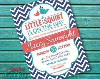 Baby shower invitations, Nautical, shower invite, A Little Squirt Is On the Way, baby whale shower invitations, printable, digital download