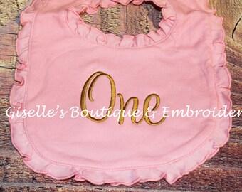 ONE Ruffle Pink Bib