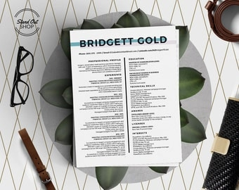 Bridgett Gold Modern Beautiful Resume Templates 5 Pack For Microsoft Word  And Apple Pages In A4