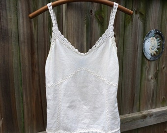 VINTAGE EXPRESS CROCHET button strap tank top, 90s does 70s
