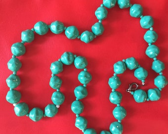 Vintage Turquoise colored beaded Necklace