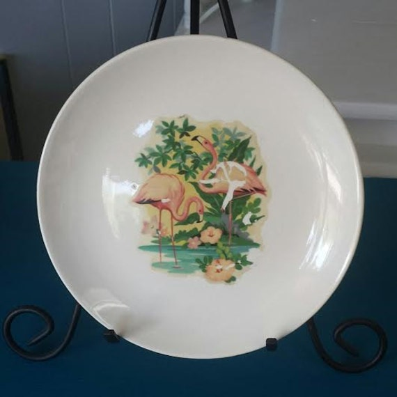 Vintage Flamingo Plate Pink Home Decor White By Frugalfortune