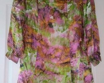 1960s Pink/Green Silk Bird Print Dress
