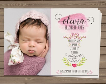 Baby Girl Birth Announcement - Floral Watercolor - Olivia Collection