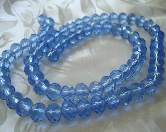 "6x8mm Baby Blue Rondelles. 72pc Full 17.5"" Strand! Beautiful Faceted Light Blue Rondelle. No AB Coat.   ~USPS Ships Rates from Oregon"