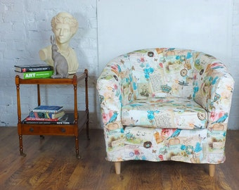 Lovely Ikea Tullsta Tub Chair Cover In Beautiful Vintage Look Bird Print Cotton.