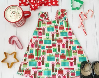 Red Christmas Dress , Christmas Baby Dress , Christmas Toddler Dress , Christmas Present Dress , Holiday Dress , Candy Cane Dress