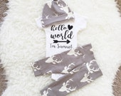 Hello World Newborn Outfit, Going Home Outfit, Hello World, Newborn Set, Personalized Bodysuit, Going Home Outfit Baby Boy,