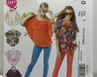 McCall's 6510 Misses Tops Sewing Pattern, Pullover Top,Summer Shirt, Font Pleat Top, Circle Blouse, Beach Top, Shirt Pattern, Sleeveless,