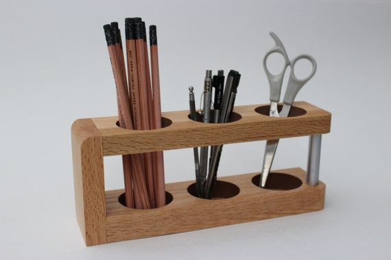 Wooden Office Gifts ~ Modern desk caddy wood organizer mid century