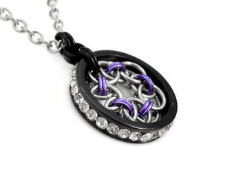 Purple, Black & Silver Tone Helm Flower Chainmaille Pendant Necklace with Rhinestones
