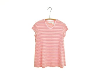 MATERNITY striped tee striped top vintage 90s shirt 90s grunge pink stripe 90s top grunge tshirt 90s tee cotton maternity shirt hipster m