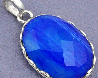 Pendant 925 sterling silver Agate blue