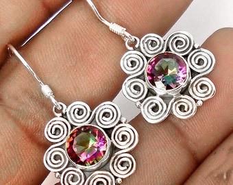 Earrings sterling silver .925 Topaz mystic