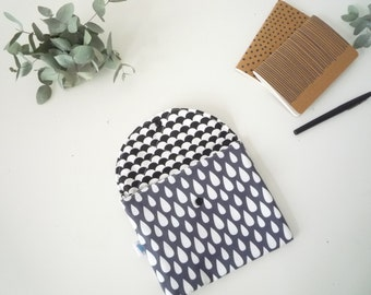 Pouch in fabric Scandinavian motifs black and grey