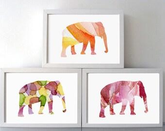 Kids room Art - Elephant Watercolor Painting - Set of 3 Prints - red orange - Animal Painting - Wall Decor - elephant Nursery Art