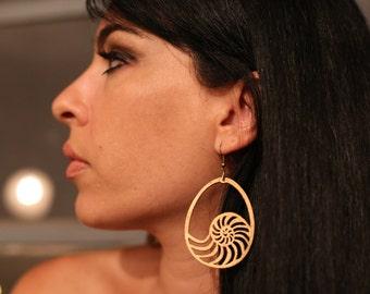 Wooden earrings - Bronze coloured