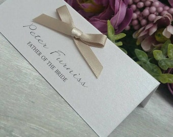 Champagne place cards ivory place cards name cards ribbon pretty place settings ivory name place vintage name place cards printed name cards