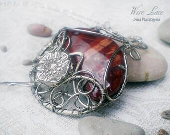 Red Planet Flower. Pendant-brooch with jasper. Wire jewelry. Gemstone.