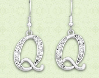 Q Initial Earrings - 54342