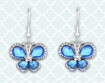 Blue Butterfly Earrings - 47112