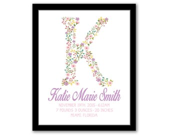 Monogram Birth Stats, Floral Nursery Art, Nursery Wall Art, Baby Name Print, Baby Birth Announcement, Baby Girl Gift, Personalized Baby Gift