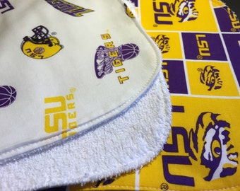 LSU Baby Gift Set Bib, Burp Cloth
