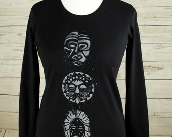 Black long sleeve women's cotton t shirt, ladies top, smart casual, handprinted screen print with 3 Masks design in light grey