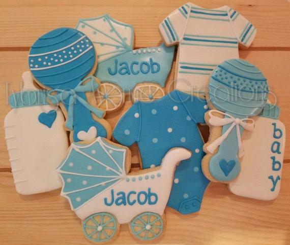 12 Baby Boy Sugar Cookies Baby Boy Shower Dessert Boy Baby