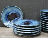 Small pottery side plates, in deepwater glaze. Perfect for dessert, salad, lunch and breakfast