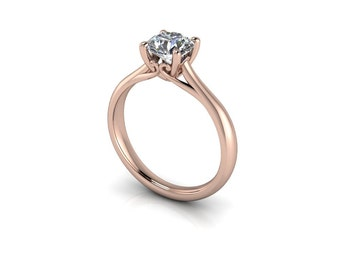 Forever One Round Brilliant Moissanite Cathedral Bridge Accent Solitaire Engagement Ring