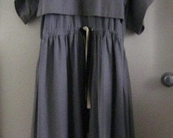 1980s Vintage Japanese Dress with Batwing Sleeves and Drawstring Waist