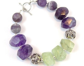 Amethyst and Prehinite Bracelet