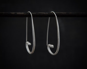 Hoop Earrings, Silver Hoops, Silver Hoop Earrings, Silver Earrings, Unusual Hoop Earrings, Brushed Silver, Matt Silver, Sterling Silver, 925