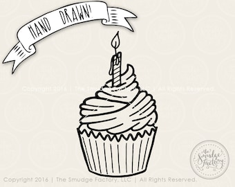 Cupcake SVG Cut File, Birthday Cut File, First Birthday, Silhouette Download, Cricut Cutting File Graphic Overlay Cupcake Sprinkles SVG