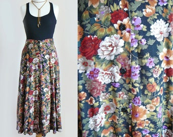 90's Long Maxi Floral Print Front Button High Waisted Skirt / Feminine Grunge Festival  / Small Medium
