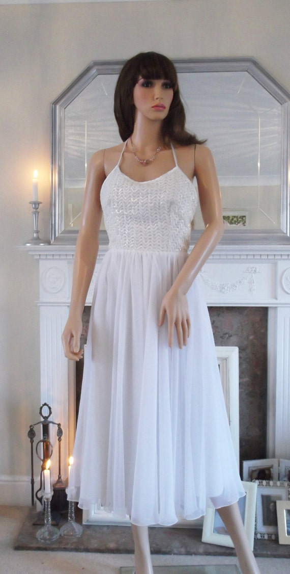 Vintage 70s 50s style sheer white wedding dress chiffon for 70s inspired wedding dress
