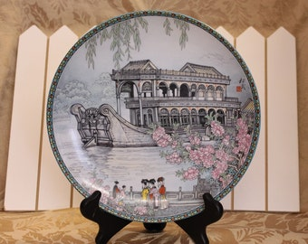 Beautiful Imperial Jingdezhen porcelain Wall Plate, The Marble Boat, The Summer Palace Series, Vintage 1988, signed by artist Zhang Song Mao