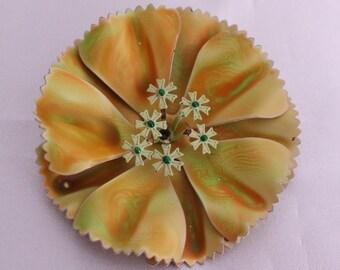 Vintage Green and Orange Enamel Flower Pin Funky 50s Look