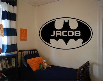 Vinyl Batman Wall Decal, Personalized Boys Room Decal, Vinyl Batman, Vinyl Superhero Decal