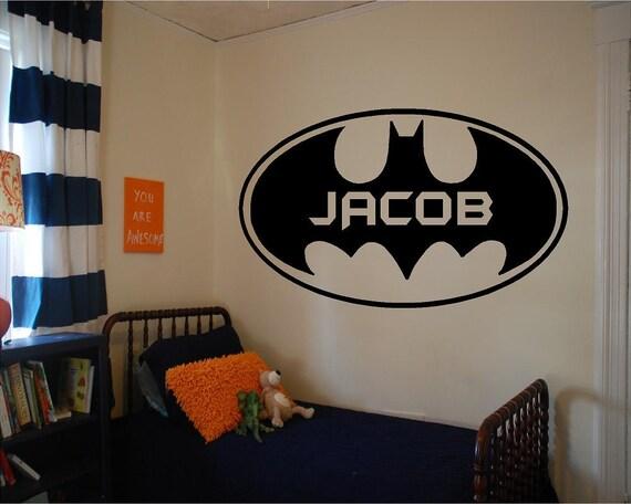 vinyl batman wall decal personalized boys room decal vinyl. Black Bedroom Furniture Sets. Home Design Ideas