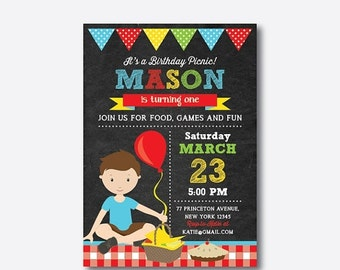 Picnic Birthday Invitation, Picnic Invitation, Red Gingham Picnic Invitation, Picnic Party Invitation, Boy, Personalized, Chalkboard(CKB.41