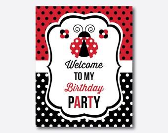 Instant Download, Ladybug Welcome Sign, Red Polkadot Ladybug Party Sign, Ladybug Door Sign, Ladybug Printable, Ladybug Decoration (SKB.03)