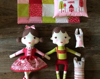 IN STOCK!! Just Another Walk In The Woods Fabric Doll Panel by Stacy Iset Hsu for Moda 100% Cotton