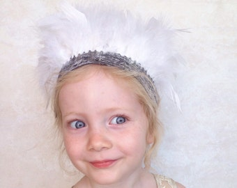 Girls Feather Crown in White Swan